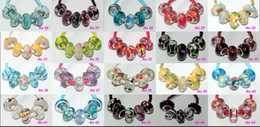 Wholesale Glass European Pendants - 100 Pcs Mixed 925 Silver Core Lampwork Murano Glass Beads Fit Original Pandora European Charm Bracelet Pendant DIY Jewelry Making