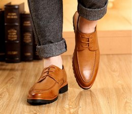 Wholesale Oxford Heels White - 2016Handmade genuine leather men shoes,Men Flats shoes,business dress shoes,new bullock Men Shoes Breathable Height Increasing casual shoes