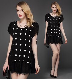 Wholesale European Summer Mini Dress - Plus size New Summer European Chiffon dresses Sexy Women Dots Pleated Mini Dresses Shirt T-shirt 3XL 4XL