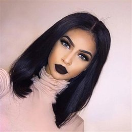 Wholesale Long Bob Wigs Bangs - Deep Parting Bob Lace Front Wigs Indian Human Hair with bangs Non-Remy Natural Color 8-12'' For Black Women 130%density