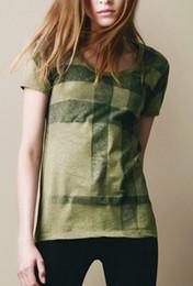 Wholesale Short Sleeve Plaid Shirts Women - Free Shipping Fashion Women T Shirt High Quality Brand Short Sleeve T-shirt O-Neck tshirt 100% cotton clothing b133213