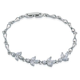 Wholesale Balance Hand - Women's 18k White Gold Plated Tennis Bracelet Silicone balance bracelet Leaves Shape Hand Chain Free Shipping Christmas Gift