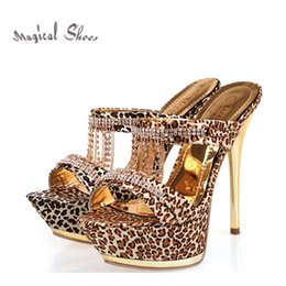 Wholesale Leopard High Heels Peep Toe - Hot Sale New Arrival 2015 Summer Brand Women Pumps Fashion Leopard Peep Toe Platform High Heels Rhinestone Sandals Free Shipping