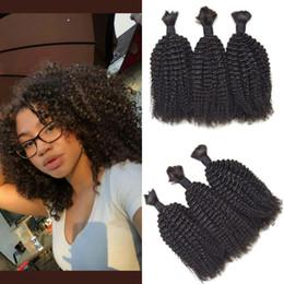 Wholesale Afro Kinky Human Braiding Hair - 3 bundles kinky curly human hair bulk mongolian afro braiding hair for black women G-EASY