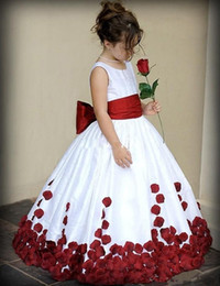 Wholesale Little White Dress Train - Flower Girl Dresses for Wedding 2016 Wine Red and White Sash Ball Gown Sweep Train Crew Little Girls Pageant Gowns First Communion Dresses