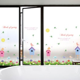 Wholesale Art Border Designs - Fence Birdcage Flowers Birds Wall Decals for Kids Room Nursery Birds of Spring Wall Stickers Quote Home Wall Border Decor DIY Decoration Art