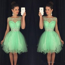 Wholesale Mint Short Homecoming Dress - Mint Crystals Homecoming Dresses 2017 Knee Length Junior Bridesmaid Dress Sheer Ball Gowns Short Prom Dresses