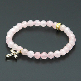 Wholesale Wholesale Crystal Pave Beads - Easter Wholesale 10pcs lot 6mm Natural Pink Quatz Crystal Stone Beads with Micro Paved Clear Zircons Spacer Cz Beads Cross Bracelets