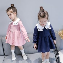 Wholesale Childrens Embroidered Clothing - New Preppy Style Girls Dresses Fashion long sleeve embroidery cute Princess Dresses Childrens Dress Girls Clothes Kids Clothing A1253