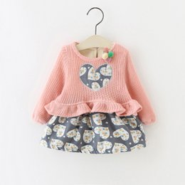 Wholesale 4t girls fall clothes - Little Girls Ruffle Heart Dresses Plus Fleece 2017 Fall Winter Kids Boutique Clothing Little Girls Knit Top Long Sleeves Dresses