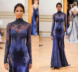 imagens de vestidos de veludo Desconto 2016 Sexy Azul Bainha Pescoço Longo Manga Grânulos de Trem da Varredura Vestidos de Noite Zuhair Murad Celebridade Vestidos de Baile Vestidos Pageant Vestido Sheer