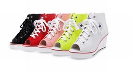 Wholesale Womens Shoes Platform Wedges - 2016 womens sneakers sports high top lace up open toe canvas shoes woman wedge heels platform shoes female casual shoes ladies zapatos mujer
