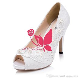 Wholesale Cheap Size 11 High Heels - Brand New Cheap Shoes White Lace Heels Bridal PeepToe Shoes Appliqued Bead Wedding & Party Shoes WS0009W Customise Size 33 to 43
