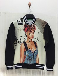 Wholesale Poster Printing Free - Wholesale free shipping 3d poster Rihanna printing autumn and winter Lovers space cotton jacket for men baseball uniform