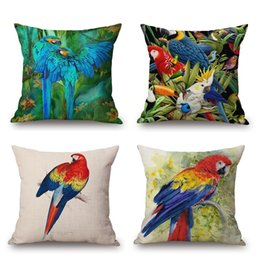 Wholesale Parrot Cushions Covers - Parrot Bird Cushion Cover Colorful Feather Pillow Covers 3D Stereo Oil Paint Pillow Cases Linen Cotton Materials Bedroom Sofa Decoration