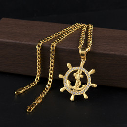 Wholesale Long Necklace Bling - Stainless Steel Round Anchor Pendant 24K Gold Lced Out Bling Rhinestone Punk Necklace Long Cuban Chain Men Women Hip Hop Jewelry