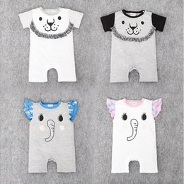 Wholesale Cartoon Boxers - Baby clothing 2016 summer cartoon short sleeve cotton baby jumpsuit climbing clothing boxer Romper baby