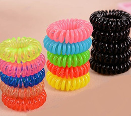 Wholesale Ring Maker - Candy Colored Telephone Line Hair rope Fashionable Gum Elastic Ties Wear Hair Ring Spring Rubber Band Accessory Maker Tools Mix Color 3cm