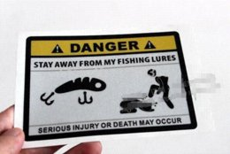 Wholesale Sticker Danger - Funny Warning DANGER Fishing Sticker Personality Outdoor Fishing Car Sticker Fashion Fishing Hobby Motorcycle Decals Fish