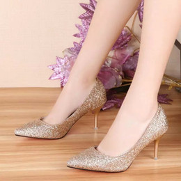 Wholesale Sex Dress High Heel - 2016 new arrival autumn summer fashion comfortable shallow beautiful Silver Vogue night club sex Crystal High Heels Wedding Bridal Shoes