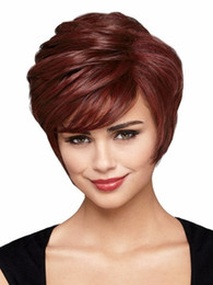 Wholesale Brown Hair Celebrities - Xiu Zhi Mei Hot sell New Coming Synthetic Celebrity Party Hair Natural Wavy Wine Red Short Wig For Women African Americans Free Shipping