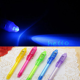 Wholesale Invisible Pens - Invisible Ink Pen School Office Drawing Magic Highlighters 2 in 1 UV Black Light Combo Creative Stationery Random Color