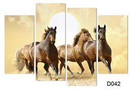 Wholesale Framed Horse Art Abstract - 4Panel Modern Horse Canvas Painting 4 Panel Set Abstract Canvas Art Wall Hangings Restaurant Decoration Pictures H 008