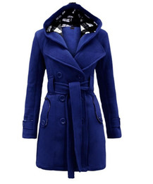 Wholesale Thick Sash Belt - New Plaid Hooded Coats Belt double-breasted long coat woolen Outerwear women's long wool winter coats 8753