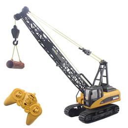 Wholesale Toys Electronic Truck - Wholesale- RC Excavator 16CH 2.4G Tower Crane Remote Control Hoist Constructing Truck Crawler Digger Model Electronic Engineering Toys