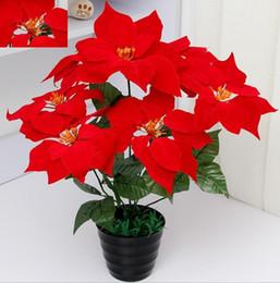 2019 tops de mesa de escritório flores artificiais poinsétia flor de natal poinsétia natal festival de casa decoratiion flor 45 cm 7 Cabeça Poinsétia Flor SF008
