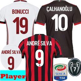 Wholesale Football Milan Ac - Player verstion 2017 2018 AC Milan BONUCCI ANDRE SILVA CALHANOGLU Soccer Jerseys 17 18 Away Green Biglia KESSIE RODRIGUEZ Football Shirts