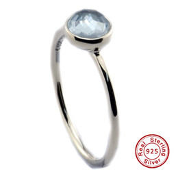 Wholesale Cubic Zirconia Ring Blue - 2016 March Droplet, Aqua Blue Crystal 100% 925 Sterling Silver Bead Fit Pandora Ring Fashion Jewelry DIY Charm Brand