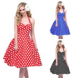 Wholesale Red Polka Dots Dress - 2016 Hot sale Deep V-Neck Polka Dot Swing 50's Housewife Pinup Dress Three color Rockabilly Vintage sleeveless mini Dresses