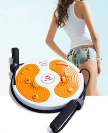 Wholesale Twister Plates - Wholesale-1pc Top Massage Magnet Twister Plate With Cord Pull Waist Wriggling Plate Plastic Massage Board Fitness Equipment