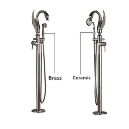 Wholesale Free Stand Mixer - Modern Brass Bird Shape Spout Free Standing Tub Faucet One Handle Bathtub Mixer With Handshower Brushed Nickle
