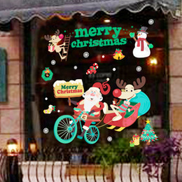 Wholesale Wholesale Refrigerator Magnet - DIY Christmas Window Stickers Window display without glue electrostatic incognito Marry Christmas Wall Stickers Refrigerator magnet