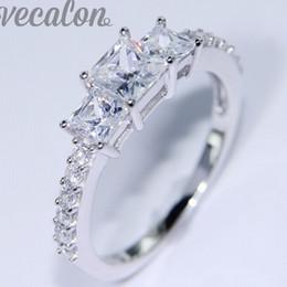 Wholesale Three Heart Rings Women - Vecalon Brand Women Fashion Jewelry Three-stone Simulated diamond Cz Wedding Band Ring White Gold Filled Female Finger ring