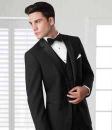 Wholesale Mens Elegant Suit - 2016 Formal Wear Tuxedos Elegant Groom's Wear Black jacket Wedding Suits For Men Best mens tuxedo(Jacket+Pants)