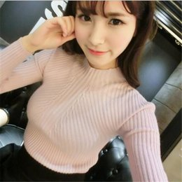 Wholesale Turtleneck Long Sleeve Shirt Girl - Wholesale- 2016 women turtleneck knitted sweater female knitted slim pullover girls all-match basic thin long-sleeve shirt clothing