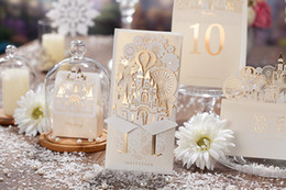 Wholesale New Styles Wedding Invitations - Customized Printing Laser Cut Hollow Wedding Invitations cards European Style 3D Castle Wedding Invitation Envelope Wedding Supplies Cards