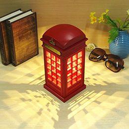 Lampade per telefono online-wholsale Vintage London Telephone Booth Batteria di ricarica USB con lampada da notte a LED Touch Dimmerabile da tavolo Lampada da tavolo per Home Office Bar