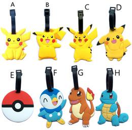 Wholesale Model Luggage - Poke Figures Toys 9cm Pikachu Elf ball Charizard Eevee Bulbasaur Suicune PVC soft Mini Model luggage tag hanging tag