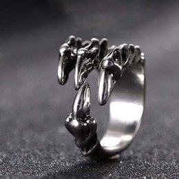 Wholesale Ring Silver Men Rock - Punk Rock Stainless Steel Mens Resizable Dragon Claw Rings Vintage Gothic Jewelry Silver Color Dragon Claw Men Ring