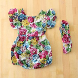 Wholesale Girls Floral Jumpsuits - 2016 Summer New Baby Girl Floral Elastic Waist Romper Backless Fashion Cotton Jumpsuits With Headband 1650