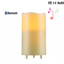 Wholesale Simulation Candle Light - LED Night Light Speaker Bluetooth USB Rechargeable Portable LED Candle lamp Recycling Simulation Wax with Remote Control