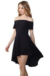 jupe courte pure femme sexy Promotion Mode Asymétrique Pure Épaule Bateau Cou Manches Courtes Hirondelles Sexy Jupe Courte Pas Cher Femmes Robe 2019