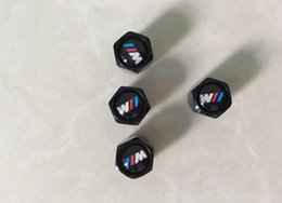 Wholesale Valve Caps - Aluminum alloy Black Mini Metal Tire Valve Valves Tyre Dust Cap Caps Car Badge Emblem Badges M Mpower Msport for BMW