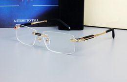 Wholesale Titanium Optical Glasses Frame - 0349 Brand Design Rimless Glasses Wide Spectacle Men Square eyeglasses frames Titanium glasses prescription lens optical frame eyewear MB