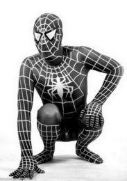 Wholesale Unitard Costume Sexy - Free P&P!! Halloween Black   Venom Lycra Spandex Spiderman Hero zentai unitard Cosplay Costume