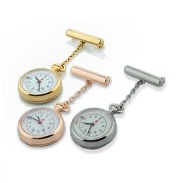 Wholesale Silver Quartz Pocket Watch - rose Gold silver nurse watch date calendar FOB pocket watch nursing hospital doctor clock medical lapel brooch timepiece free shipping